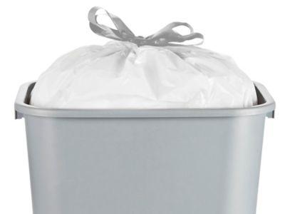 Drawstring Trash Liners - .7 Mil, 4 Gallon, White