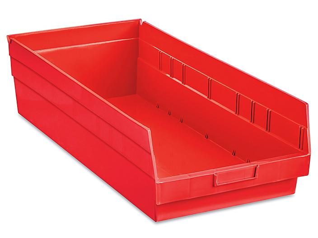 """Plastic Shelf Bins - 11 x 24 x 6"""", Red S-23086R"""