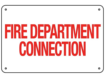 """Fire Department Connection"" Sign - Aluminum S-23118A"
