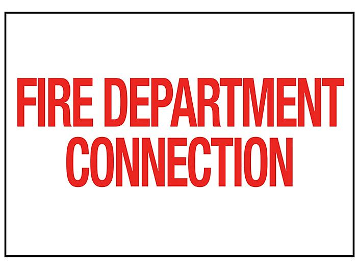 """""""Fire Department Connection"""" Sign - Vinyl, Adhesive-Backed S-23118V"""