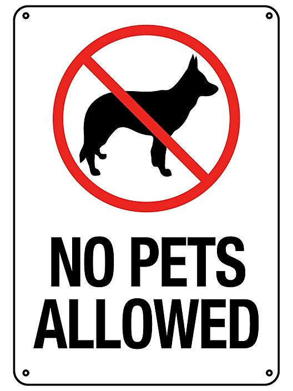 """No Pets Allowed"" Sign - Plastic S-23120P"