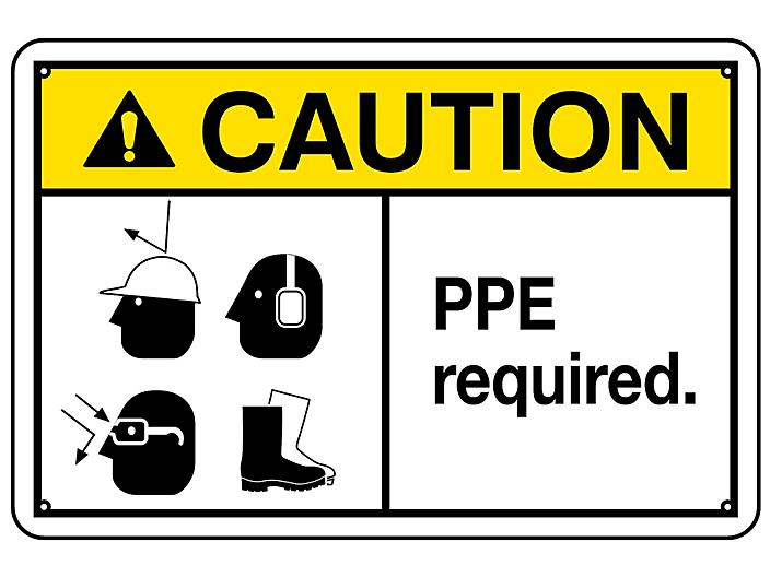 """""""PPE Required"""" Sign - Aluminum S-23121A"""