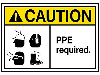 """""""PPE Required"""" Sign - Vinyl, Adhesive-Backed S-23121V"""