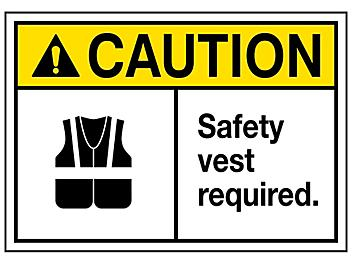 """""""Safety Vest Required"""" Sign - Vinyl, Adhesive-Backed S-23122V"""
