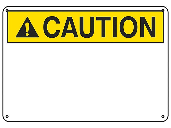 """""""Caution"""" Write-On Blank Safety Sign - Plastic S-23130P"""