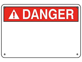 """""""Danger"""" Write-On Blank Safety Sign - Aluminum S-23132A"""