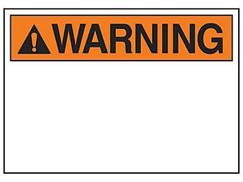 """Warning"" Write-On Blank Safety Sign - Vinyl, Adhesive-Backed S-23133V"