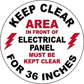 "Anti-Slip Floor Sign - ""Electrical Panel Keep Clear"", 17"" Diameter S-23152"