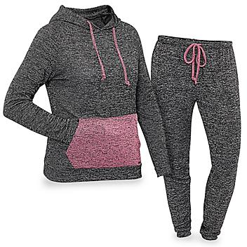 Women's Loungewear Set with Hood - Black with Pink, Small S-23256-S