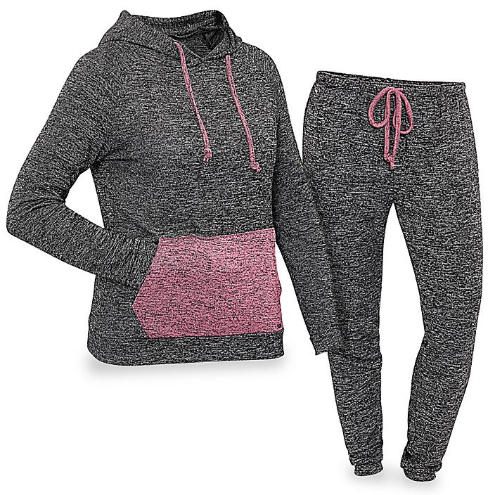 Women's Loungewear Set with Hood - Black with Pink, XL S-23256-X