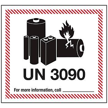 "Air Labels - Lithium Battery Handling, UN 3090, 4 5/8 x 5"" S-23264"