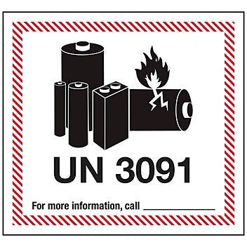 "Air Labels - Lithium Battery Handling, UN 3091, 4 5/8 x 5"" S-23265"
