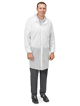 Uline Economy Lab Coat with No Pockets, Hook-and-Loop - Large S-23358-L