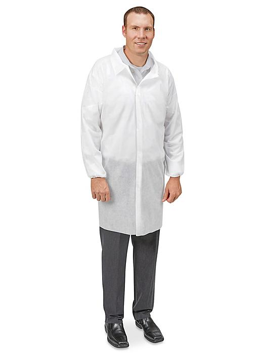Uline Economy Lab Coat with No Pockets, Hook-and-Loop