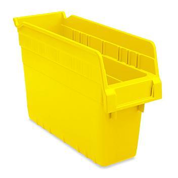 """Plastic Shelf Bins - 4 x 12 x 8"""", Yellow S-23363Y"""