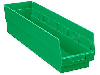 """Plastic Shelf Bins - 7 x 24 x 6"""", Green S-23366G"""