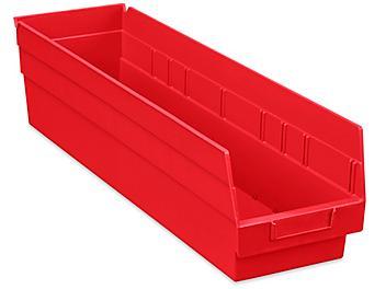 """Plastic Shelf Bins - 7 x 24 x 6"""", Red S-23366R"""