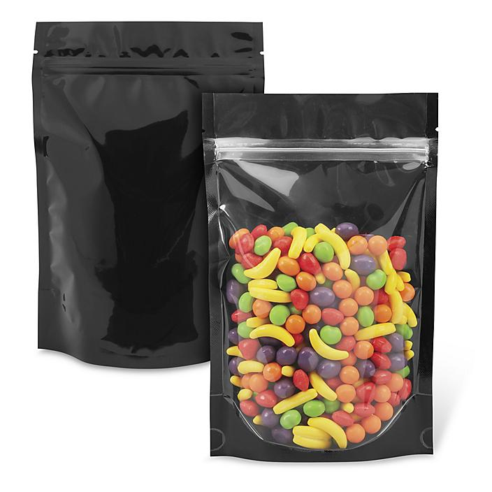"""Ultra Clear Stand-Up Barrier Pouches - 6 x 9 x 3"""", Colored Back"""