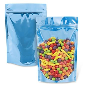 """Ultra Clear Stand-Up Barrier Pouches - 6 x 9 x 3"""", Blue Back S-23434BLUB"""
