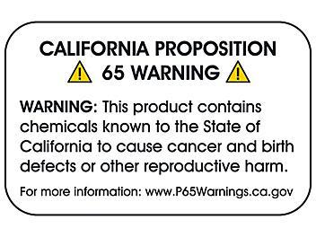 "California Prop 65 Labels - Full Generic Warning, 2 3/8 x 1 1/2"" S-23443"