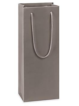 "Matte Laminate Shopping Bags - 5 x 3 1/2 x 13 1/4"", Wine, Gray S-23479GR"