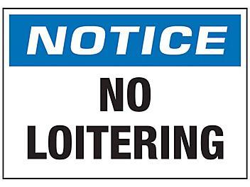 """No Loitering"" Sign - Vinyl, Adhesive-Backed S-23484V"