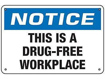 """""""This Is A Drug-Free Workplace"""" Sign - Aluminum S-23485A"""