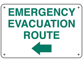 """Emergency Evacuation Route"" Arrow Left Sign - Aluminum S-23488A"