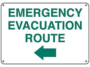 """Emergency Evacuation Route"" Arrow Left Sign - Plastic S-23488P"