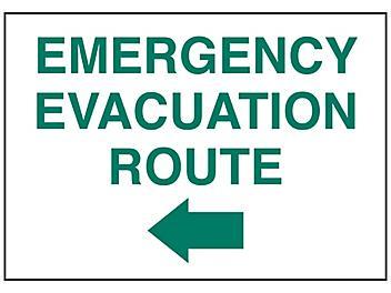 """Emergency Evacuation Route"" Arrow Left Sign - Vinyl, Adhesive-Backed S-23488V"