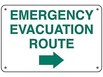 """""""Emergency Evacuation Route"""" Arrow Right Sign - Aluminum S-23489A"""