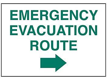 """Emergency Evacuation Route"" Arrow Right Sign - Vinyl, Adhesive-Backed S-23489V"