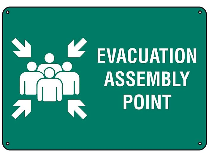 """""""Evacuation Assembly Point"""" Sign - Plastic S-23490P"""
