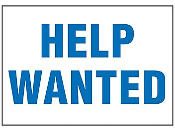 """""""Help Wanted"""" Sign - Vinyl, Adhesive-Backed S-23492V"""