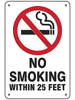 """""""No Smoking Within 25 Feet"""" Sign - Aluminum S-23493A"""