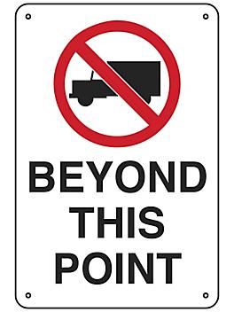 """""""No Trucks Beyond This Point"""" Sign - Aluminum S-23494A"""