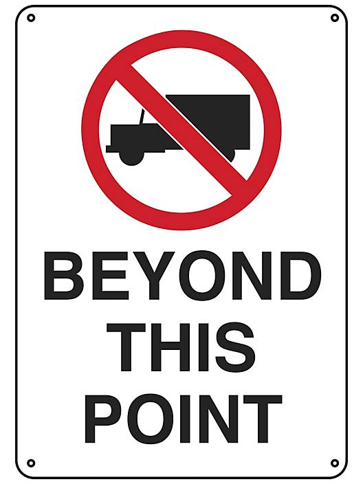 """""""No Trucks Beyond This Point"""" Sign - Plastic S-23494P"""