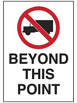 """""""No Trucks Beyond This Point"""" Sign - Vinyl, Adhesive-Backed S-23494V"""