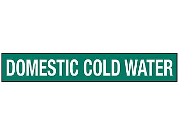 """""""Domestic Cold Water"""" Pipe Markers - 2 1/2 - 7 7/8"""" Pipe Diameter S-23502-2"""