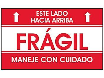"""""""Este Lado Hacia Arriba/Frágil/Maneje Con Cuidado"""" Label - 3 x 5"""" S-23662"""