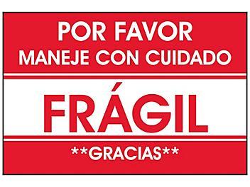 """""""Por Favor Maneje Con Cuidado/Frágil/Gracias"""" Label - 2 x 3"""" S-23665"""