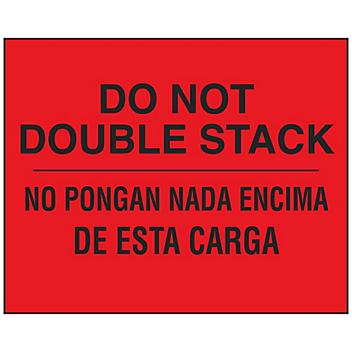 """Bilingual English/Spanish Labels - """"Do Not Double Stack"""", 8 x 10"""" S-23674"""