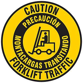 "Bilingual English/Spanish Anti-Slip Floor Sign - ""Caution Forklift Traffic"", 17"" Diameter S-23678"