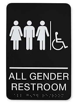 Plastic Accessible Restroom Sign - All Gender, Black S-23692BL