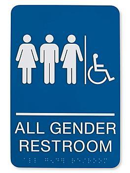 Plastic Accessible Restroom Sign - All Gender, Blue S-23692BLU