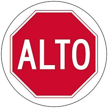 """Spanish Anti-Slip Floor Sign - """"Alto"""", 17"""" Diameter S-23718"""