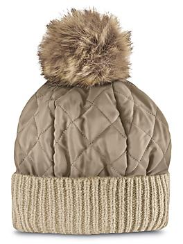 Ladies' Quilted Puff Hat - Tan S-23722T