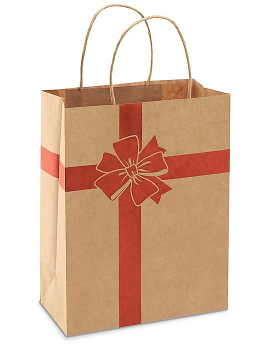 "Printed Kraft Paper Shopping Bags - 8 x 4 1/2 x 10 1/4"", Cub, Red Bow S-23723BOW"