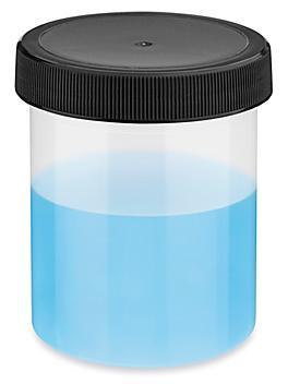 Translucent Round Wide-Mouth Plastic Jars Bulk Pack - 4 oz, Black Cap S-23739B-BL