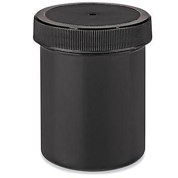 Black Round Wide-Mouth Plastic Jars Bulk Pack - 4 oz S-23747B